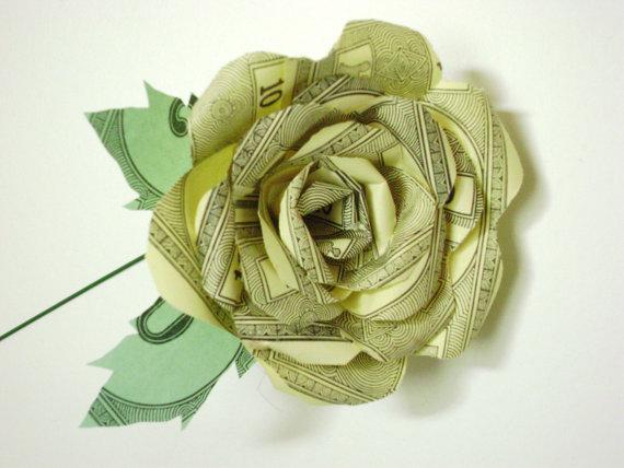 Paper rose on stem