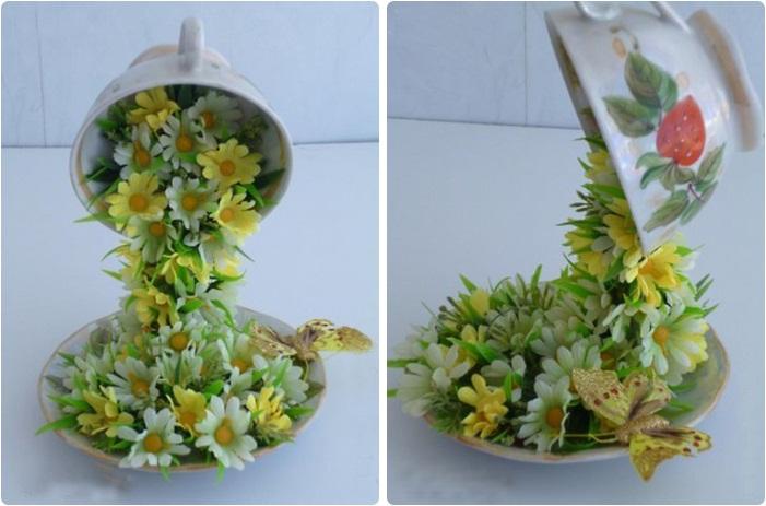 Кружка с блюдцем из цветов своими руками 99