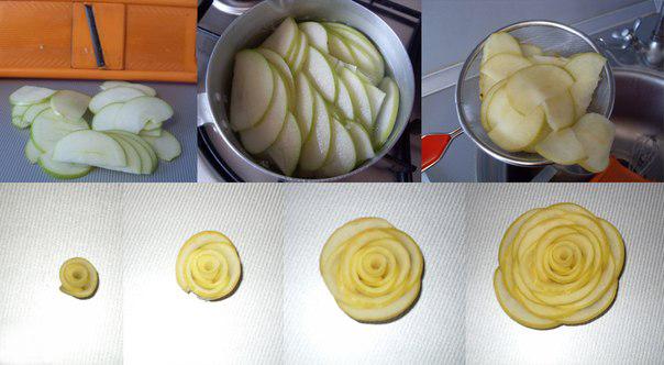 Как сделать розы их яблоками 93
