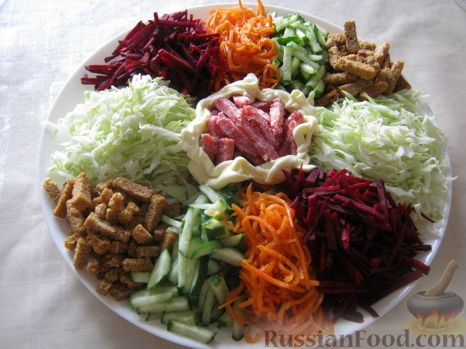 рецепт салата курица в огороде